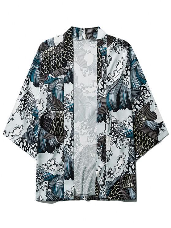 Sea Waves Koi Fish Open Front Kimono Cardigan - اللون الرمادي S