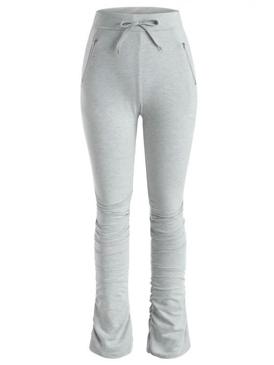 lady Drawstring Zippered Pocket Ruched Stacked Pants - GRAY XL