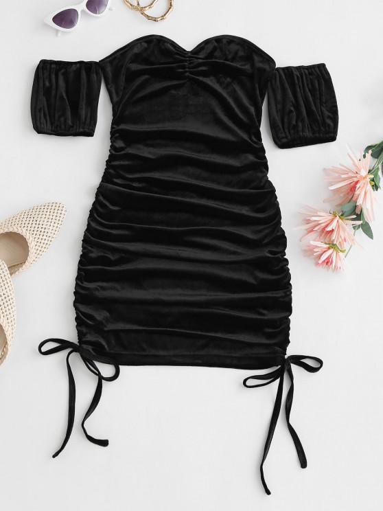 Vestido Hombros Descubierto Terciopelo Fruncido Ajustado - Negro L