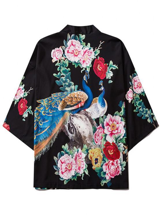 Flower Peacock Print Chinoiserie Kimono Cardigan - أسود L