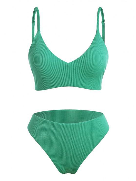 ZAFUL Übergröße Gerippter Vollrand Bikini Badebekleidung - Hellgrün XL