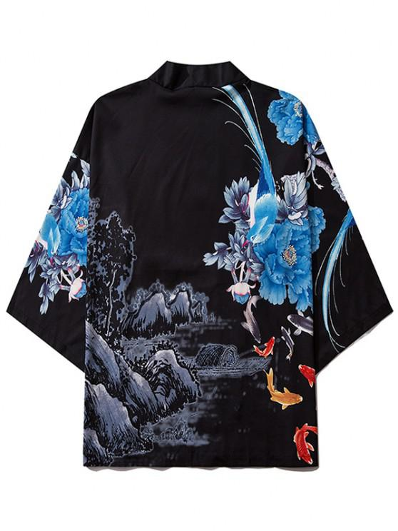 hot Flower Mountain Paint Print Chinoiserie Kimono Cardigan - BLACK L