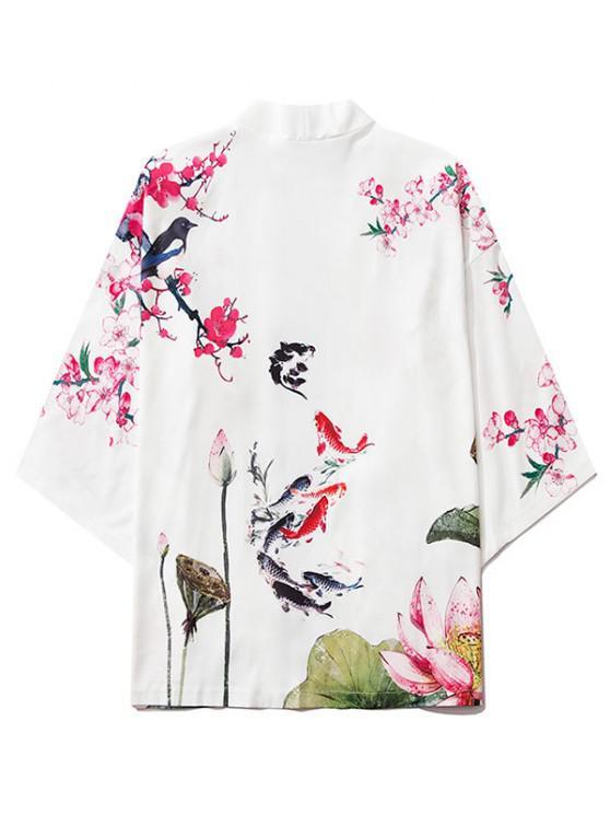 Koi Fisch Blumendruck Chinoiserie Kimono - Milchweiß M