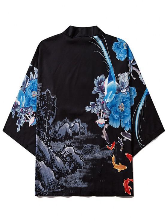 Flower Mountain Paint Print Chinoiserie Kimono Cardigan - أسود 2XL