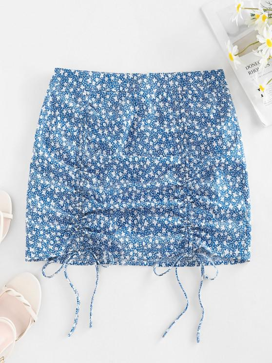 womens ZAFUL Ditsy Print Cinched Mini Bodycon Skirt - BABY BLUE S