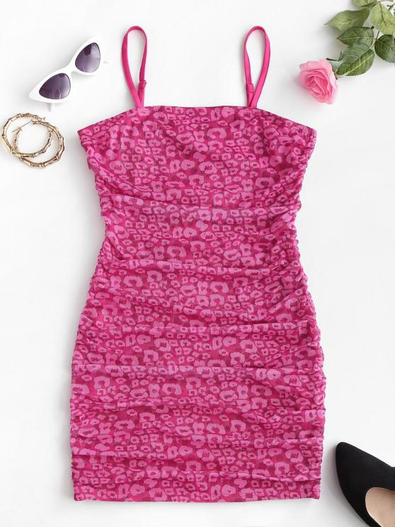 fancy Mesh Leopard Bodycon Ruched Cami Dress - LIGHT PINK XS