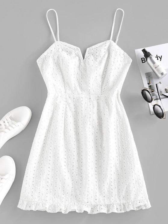 ZAFUL Broderie Anglaise Ruffle V Wired Mini Dress - أبيض M