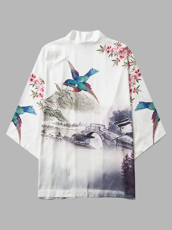 lady Chinese Landscape Paint Print Kimono Cardigan - MILK WHITE M