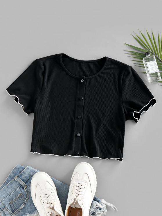 ZAFUL Ribbed Contrast Trim Button Up Crop T Shirt - أسود S