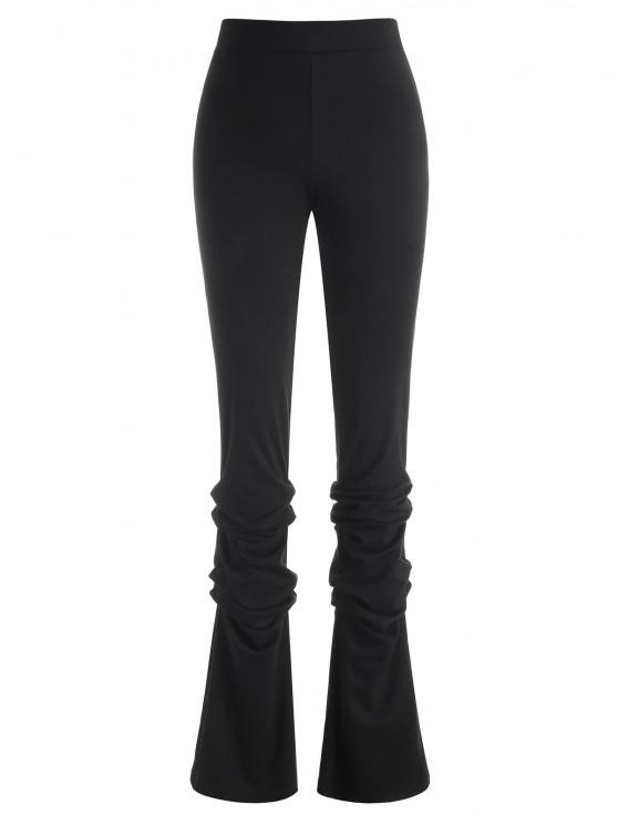 lady Zipper Fly Ruched Stacked Pants - BLACK L
