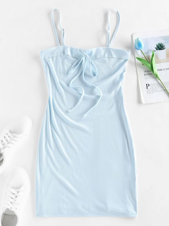outfit ZAFUL Ribbed Bowknot Foldover Bodycon Dress - LIGHT BLUE S