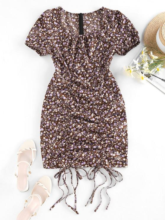 chic Tiny Floral Print Cinched Mini Dress - DEEP BROWN L
