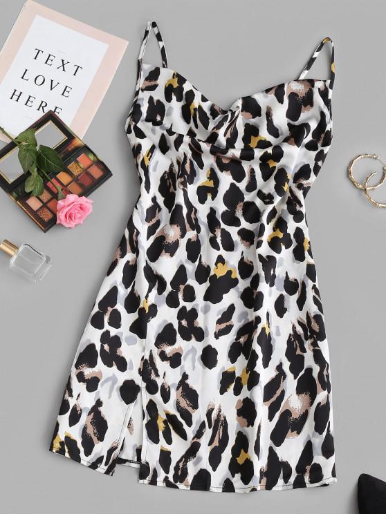 Mini Vestido de Corte Frente Leopardo - Branco S