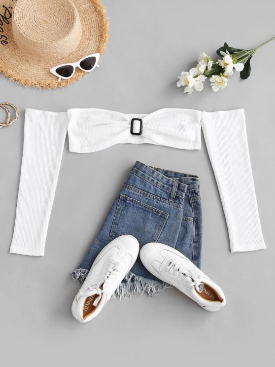 trendy ZAFUL Knitted Square Ring Off Shoulder Crop T Shirt - WHITE S