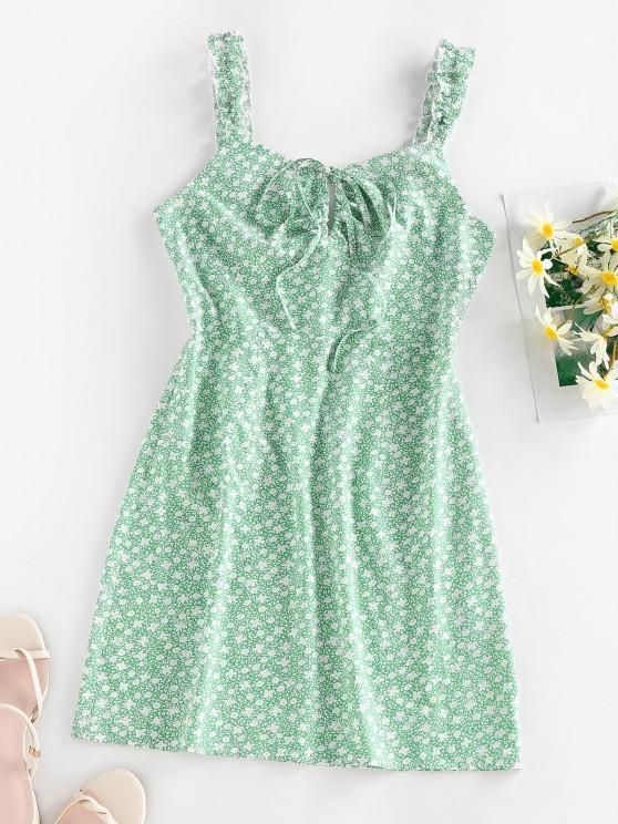 fashion ZAFUL Ditsy Print Bowknot Keyhole Lettuce Strap Dress - PALE BLUE LILY S