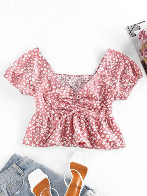 shop ZAFUL Ditsy Print Smocked Cinched Peplum Blouse - ROSY BROWN S