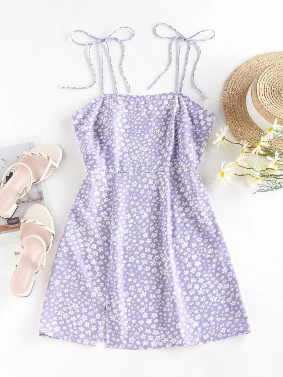 lady ZAFUL Ditsy Print Tie Shoulder Slit Vacation Dress - LIGHT PURPLE S