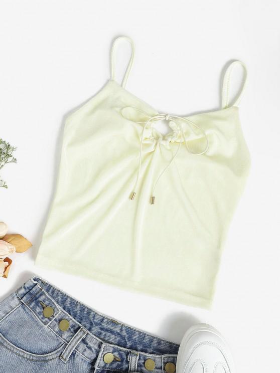 Self-tie Keyhole Jersey Cami Top - أصفر فاتح S