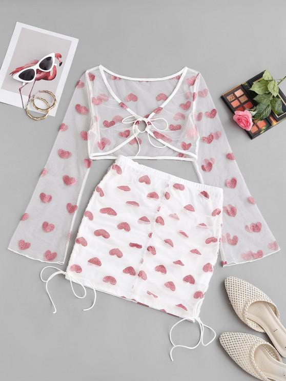chic Ruched Mesh Metallic Heart Mini Skirt Set - WHITE S