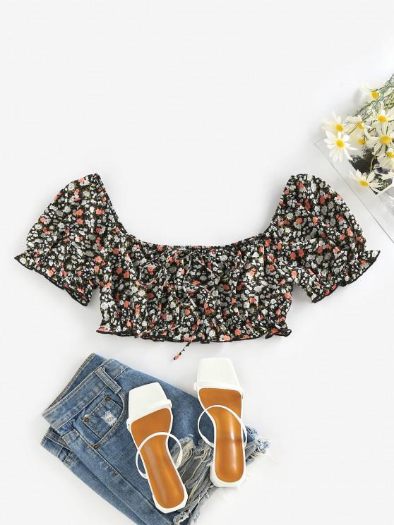 fashion ZAFUL Ditsy Print Ruffle Puff Sleeve Bowknot Crop Blouse - BLACK S