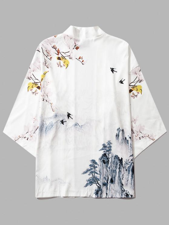 Mountain Flower Bird Landscape Kimono Cardigan - حليب ابيض XL