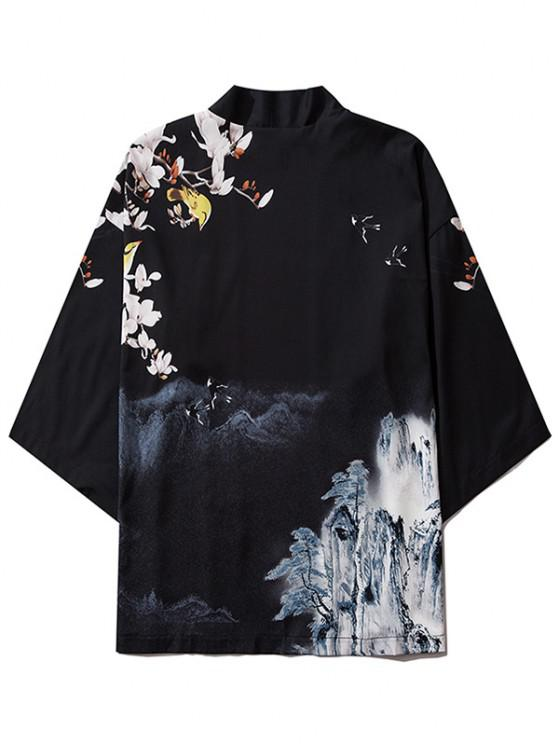 ladies Mountain Flower Bird Landscape Kimono Cardigan - BLACK L