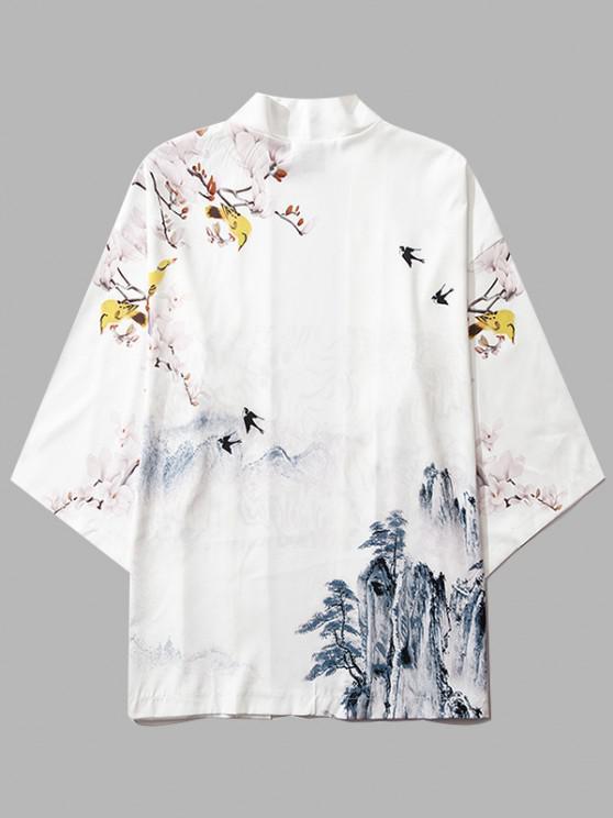 best Mountain Flower Bird Landscape Kimono Cardigan - MILK WHITE S