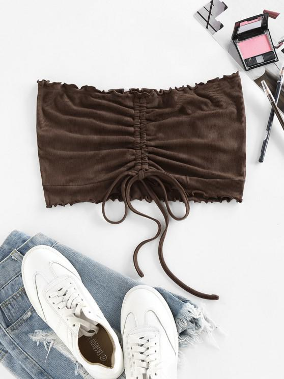 sale ZAFUL Ribbed Cinched Lettuce Trim Crop Tube Top - DEEP COFFEE M