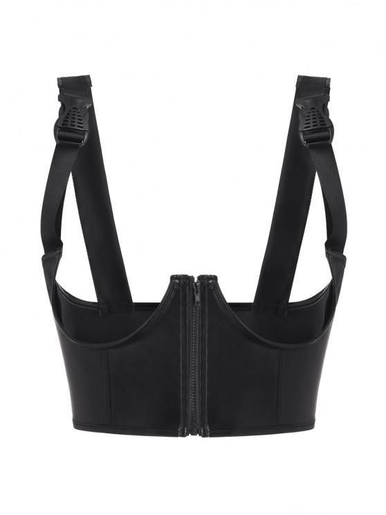 ladies Buckled Strap PU Leather Underwire Underboob Corset - BLACK M