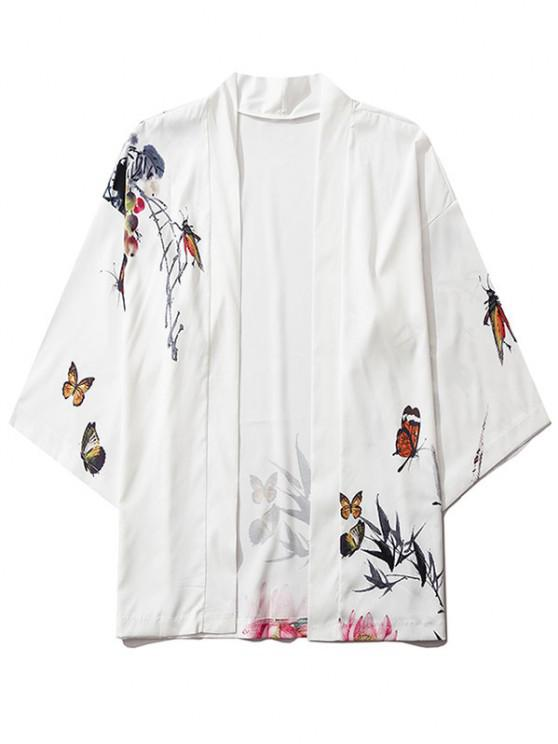 fancy Bamboo Butterfly Floral Paint Kimono Cardigan - MILK WHITE S