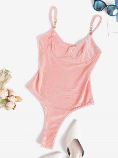 Metal Embellish Ribbed Velvet Bustier Bodysuit - Light Orange M