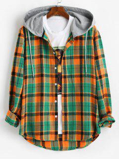Hooded Plaid Print High Low Shirt - Orange L