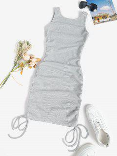 Rib-knit Cinched Ruched Slinky Backless Bodycon Tank Dress - Light Gray L