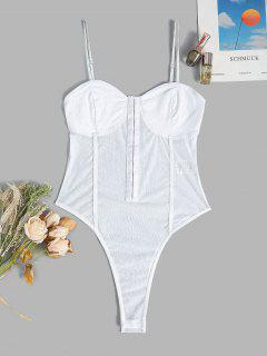 Hook And Eye Mesh Snap Crotch Bustier Bodysuit - White