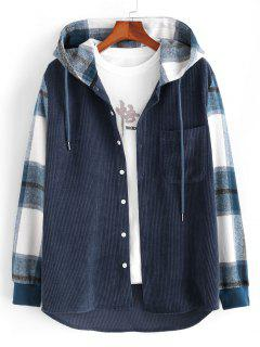 Hooded Plaid Print Button Up Corduroy Jacket - Deep Blue L