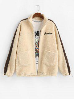 Letter Embroidery Colorblock Teddy Jacket - Light Yellow M