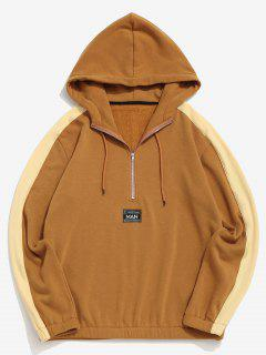 Letter Patch Plush Colorblock Hoodie - Deep Yellow M