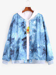 Tie Dye Print Button Up Jacket - Blue L