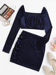 Ruched Velvet Square Neck Bodycon Skirt Set - Deep Blue S