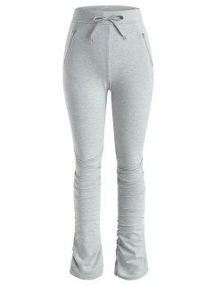 Drawstring Zippered Pocket Ruched Stacked Pants - Gray M