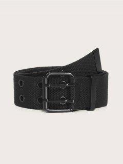 Cinturon De Lona De Ojales Dobles - Negro
