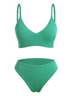 ZAFUL Plus Size Ribbed Full Coverage Bralette Bikini Swimwear - Light Green Xxl