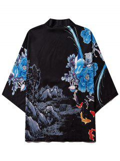 Flower Mountain Paint Print Chinoiserie Kimono Cardigan - Black L