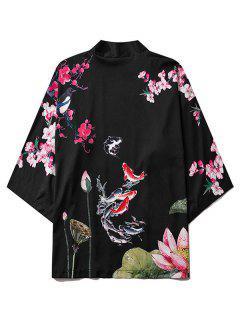 Koi Fish Flower Print Chinoiserie Kimono Cardigan - Black L