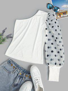 Polka Dot Organza Puff Sleeve One Shoulder Top - White M