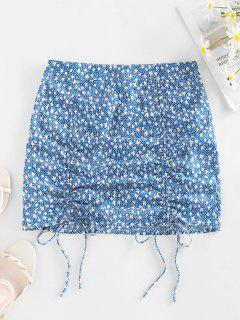 ZAFUL Ditsy Print Cinched Mini Bodycon Skirt - Baby Blue S