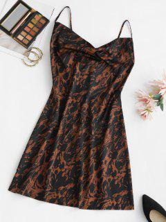 Abstract Print Cowl Front Mini Dress - Black L