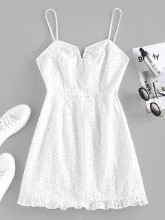 ZAFUL Broderie Anglaise Ruffle V Wired Mini Dress - White L