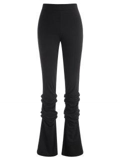 Zipper Fly Ruched Stacked Pants - Black S