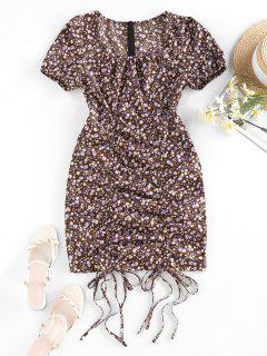 Tiny Floral Print Cinched Mini Dress - Deep Brown M